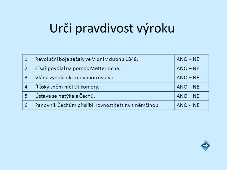 Správné řešení 1Revoluční boje začaly ve Vídni v dubnu 1848.ANO – NE 2Císař povolal na pomoc Metternicha.ANO – NE 3Vláda vydala oktrojovanou ústavu.ANO – NE 4Říšský sněm měl tři komory.ANO – NE 5Ústava se netýkala Čechů.ANO – NE 6Panovník Čechům přislíbil rovnost češtiny s němčinou.ANO - NE