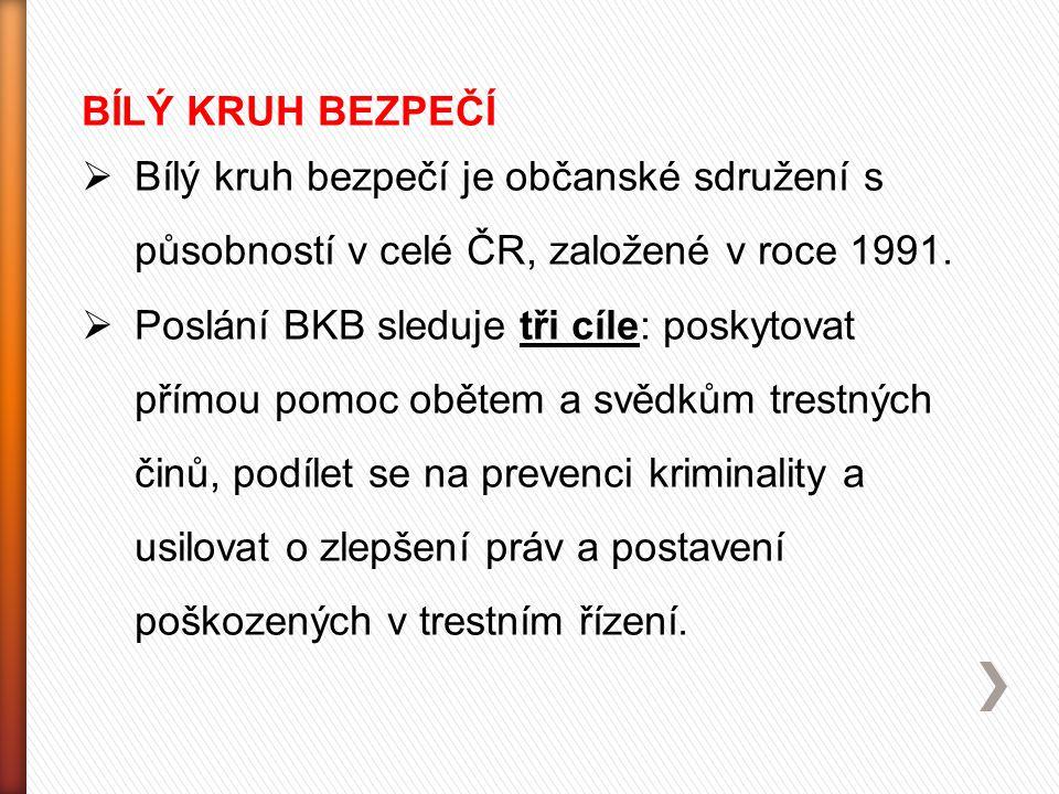 BÍLÝ KRUH BEZPEČÍ  Bílý kruh bezpečí je občanské sdružení s působností v celé ČR, založené v roce 1991.  Poslání BKB sleduje tři cíle: poskytovat př