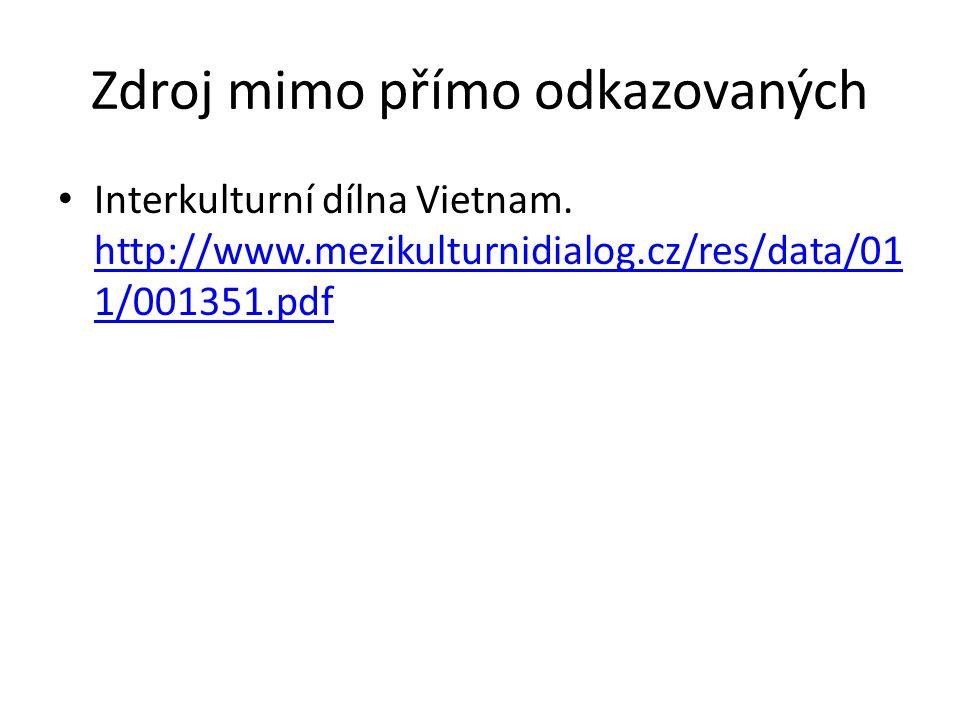 Zdroj mimo přímo odkazovaných Interkulturní dílna Vietnam.