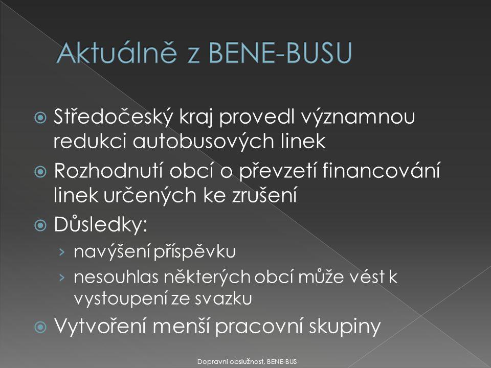  Středočeský kraj provedl významnou redukci autobusových linek  Rozhodnutí obcí o převzetí financování linek určených ke zrušení  Důsledky: › navýš