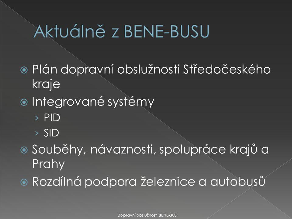  Plán dopravní obslužnosti Středočeského kraje  Integrované systémy › PID › SID  Souběhy, návaznosti, spolupráce krajů a Prahy  Rozdílná podpora železnice a autobusů Dopravní obslužnost, BENE-BUS