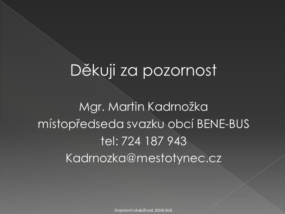 Děkuji za pozornost Mgr. Martin Kadrnožka místopředseda svazku obcí BENE-BUS tel: 724 187 943 Kadrnozka@mestotynec.cz Dopravní obslužnost, BENE-BUS