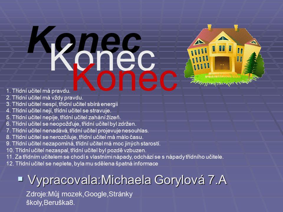 Konec  Vypracovala:Michaela Gorylová 7.A Zdroje:Můj mozek,Google,Stránky školy,Beruška8.