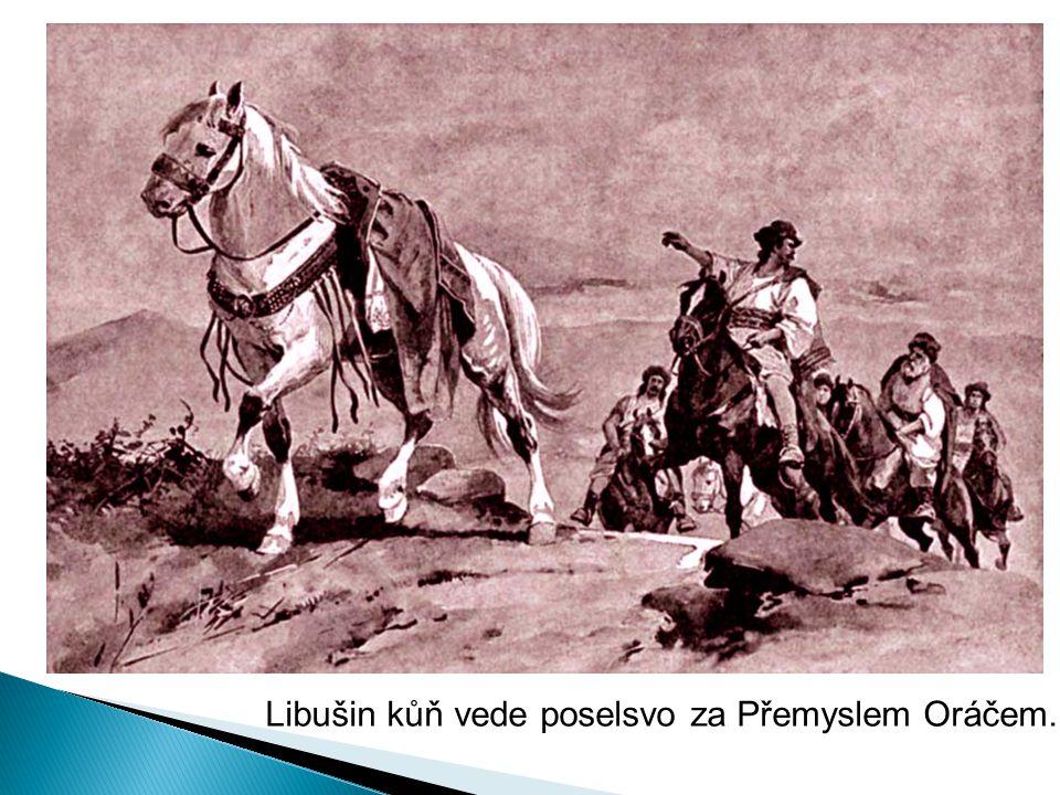 Libušin kůň vede poselsvo za Přemyslem Oráčem.