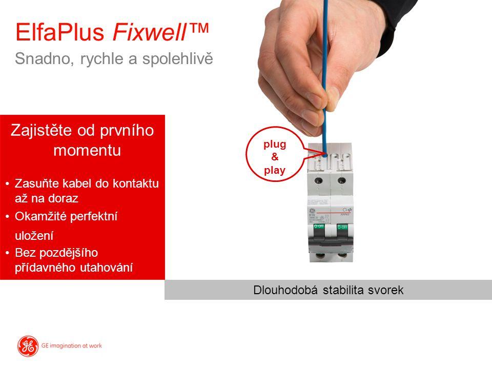 ElfaPlus Fixwell™ Zajistěte od prvního momentu Zasuňte kabel do kontaktu až na doraz Okamžité perfektní uložení Bez pozdějšího přídavného utahování Sn