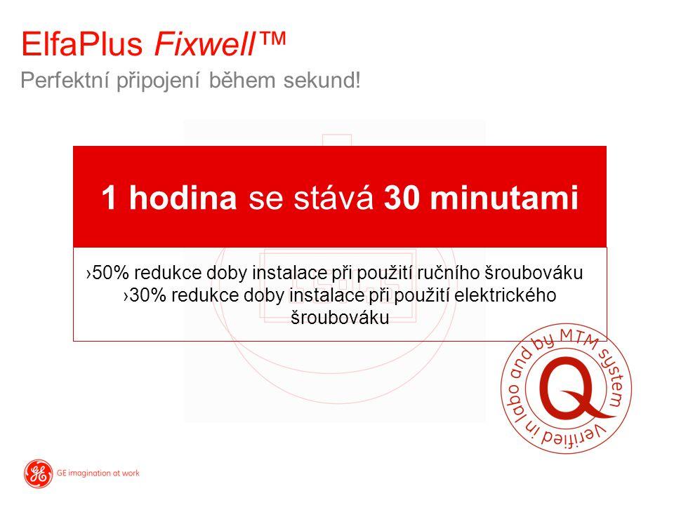ElfaPlus Fixwell™ Perfektní připojení během sekund! 1 hodina se stává 30 minutami ›50% redukce doby instalace při použití ručního šroubováku ›30% redu