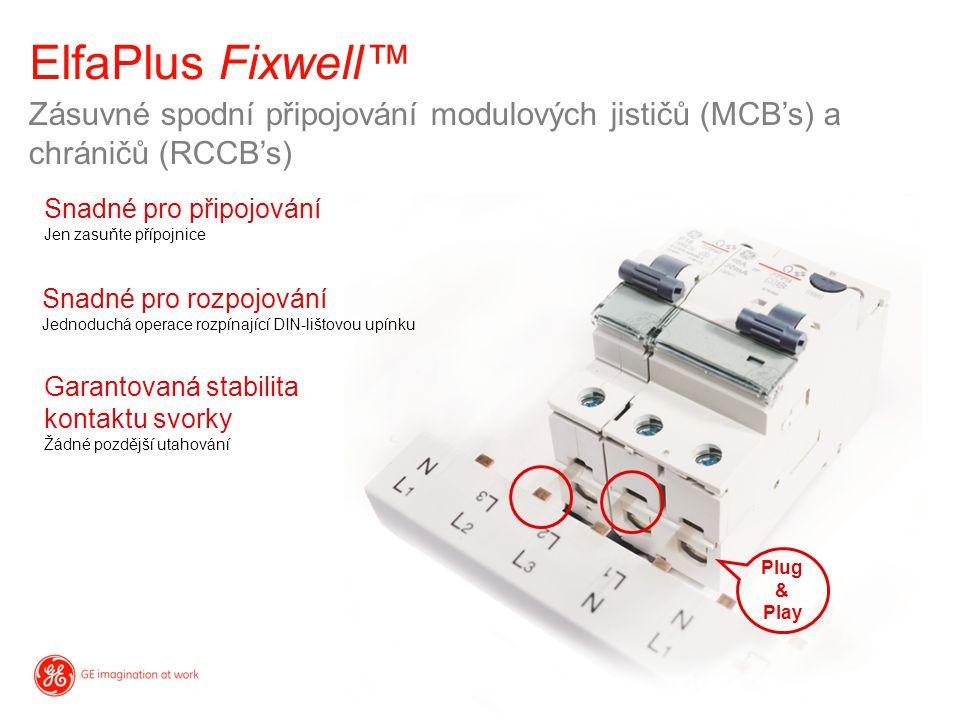 Zásuvné spodní připojování modulových jističů (MCB's) a chráničů (RCCB's) Snadné pro připojování Jen zasuňte přípojnice Garantovaná stabilita kontaktu