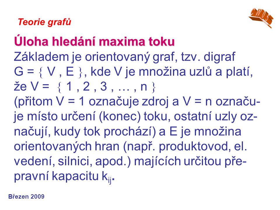 Úloha hledání maxima toku Úloha hledání maxima toku Základem je orientovaný graf, tzv.