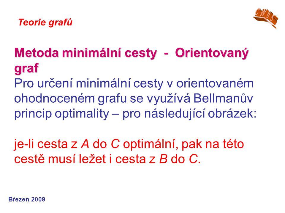 Metoda minimální cesty - Orientovaný graf Metoda minimální cesty - Orientovaný graf Pro určení minimální cesty v orientovaném ohodnoceném grafu se využívá Bellmanův princip optimality – pro následující obrázek: je-li cesta z A do C optimální, pak na této cestě musí ležet i cesta z B do C.