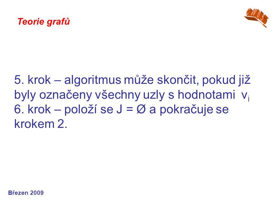 5. krok – algoritmus může skončit, pokud již byly označeny všechny uzly s hodnotami v i 6. krok – položí se J = Ø a pokračuje se krokem 2. Teorie graf