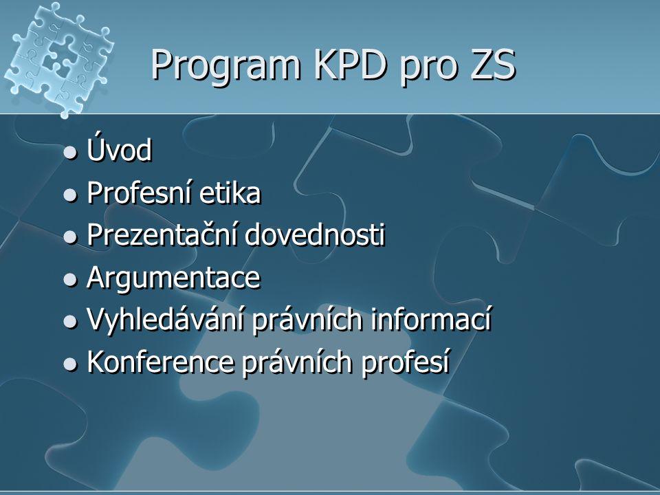Program KPD pro ZS Úvod Profesní etika Prezentační dovednosti Argumentace Vyhledávání právních informací Konference právních profesí Úvod Profesní eti