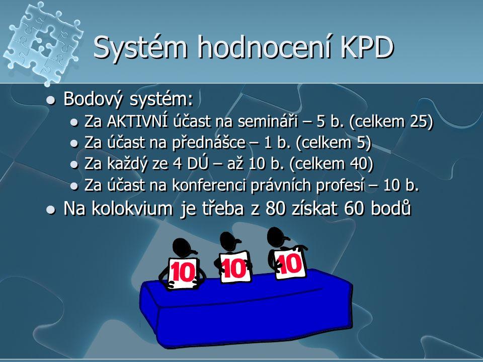 Systém hodnocení KPD Bodový systém: Za AKTIVNÍ účast na semináři – 5 b. (celkem 25) Za účast na přednášce – 1 b. (celkem 5) Za každý ze 4 DÚ – až 10 b
