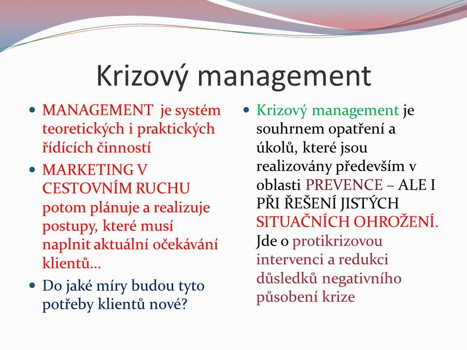 Krizový management MANAGEMENT je systém teoretických i praktických řídících činností MARKETING V CESTOVNÍM RUCHU potom plánuje a realizuje postupy, kt