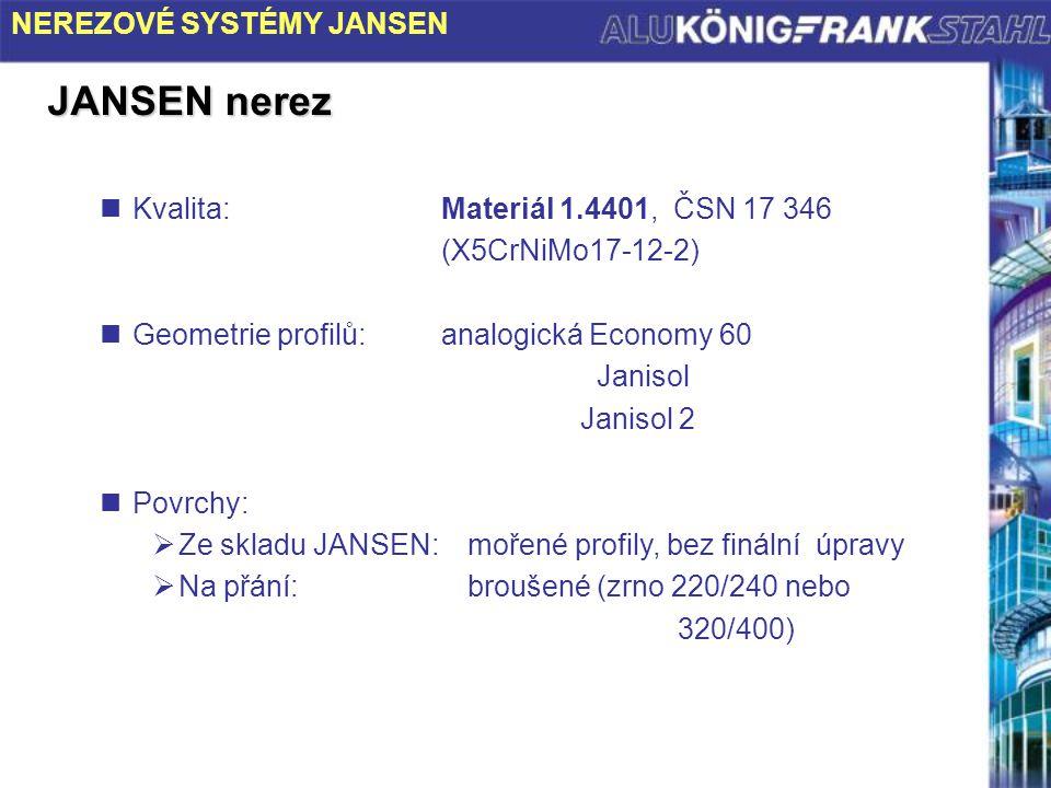KORB 9/00 JANSEN nerez Kvalita:Materiál 1.4401, ČSN 17 346 (X5CrNiMo17-12-2) Geometrie profilů:analogická Economy 60 Janisol Janisol 2 Povrchy:  Ze s