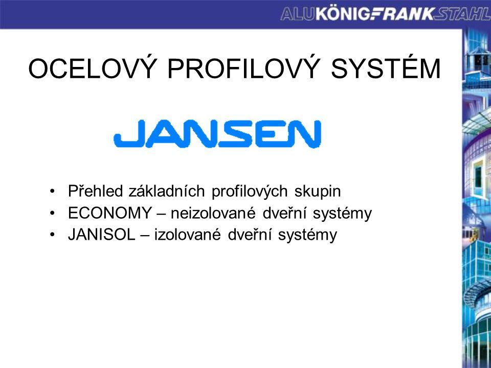 OCELOVÝ PROFILOVÝ SYSTÉM Přehled základních profilových skupin ECONOMY – neizolované dveřní systémy JANISOL – izolované dveřní systémy