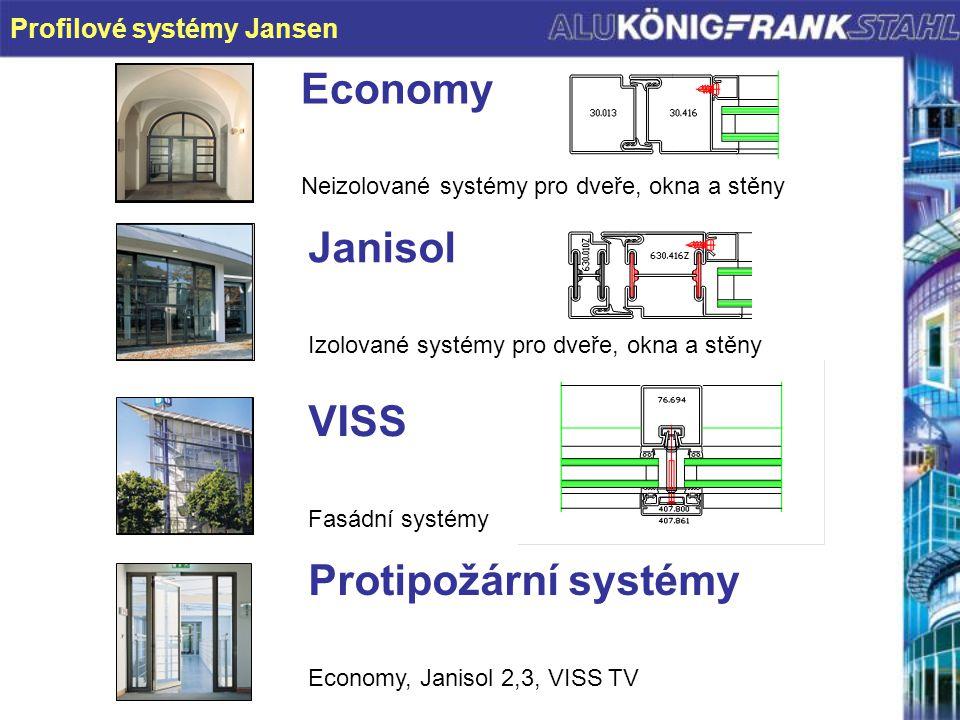 KORB 9/00 Profilové systémy Jansen Economy Neizolované systémy pro dveře, okna a stěny Janisol Izolované systémy pro dveře, okna a stěny VISS Fasádní