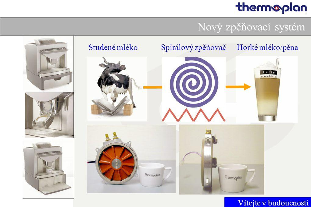 Vítejte v budoucnosti Nový zpěňovací systém Studené mlékoHorké mléko/pěnaSpirálový zpěňovač