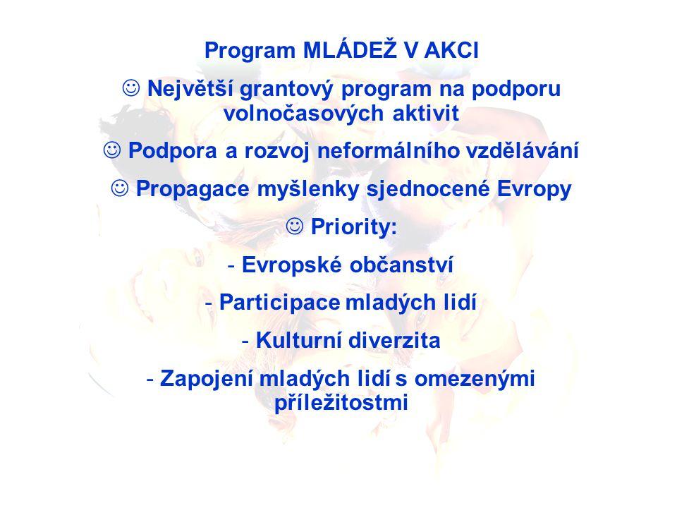 Program MLÁDEŽ V AKCI Největší grantový program na podporu volnočasových aktivit Podpora a rozvoj neformálního vzdělávání Propagace myšlenky sjednocen