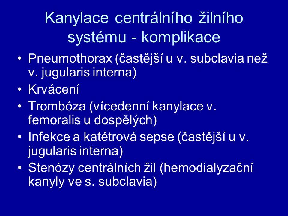 Kanylace centrálního žilního systému - komplikace Pneumothorax (častější u v. subclavia než v. jugularis interna) Krvácení Trombóza (vícedenní kanylac