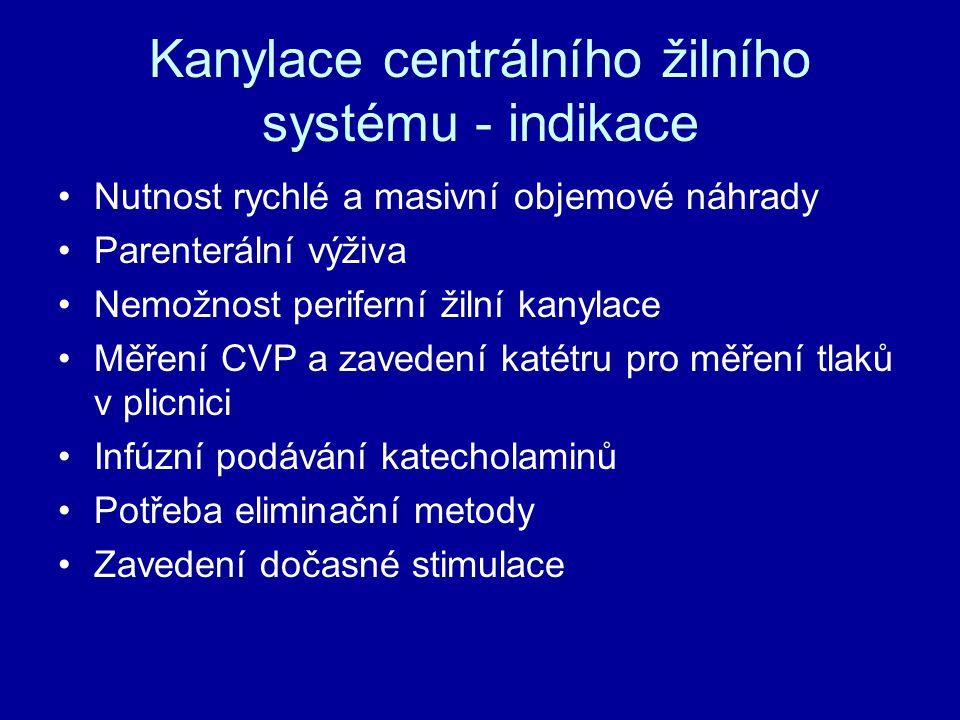 Kanylace centrálního žilního systému - indikace Nutnost rychlé a masivní objemové náhrady Parenterální výživa Nemožnost periferní žilní kanylace Měřen