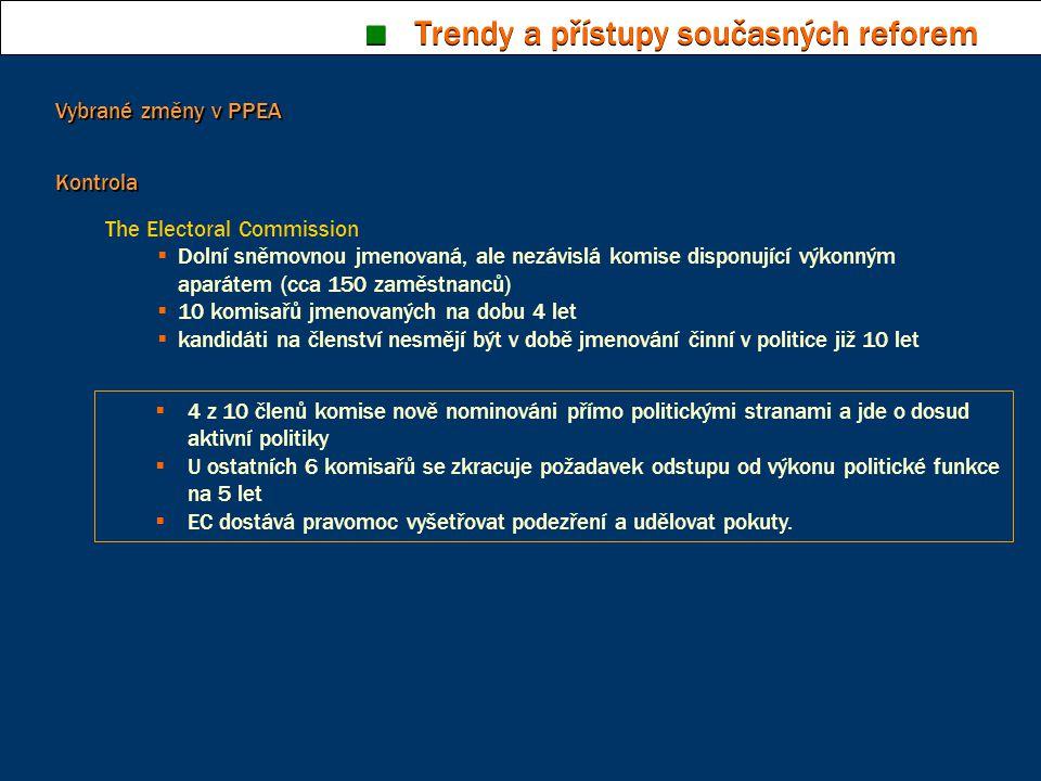 ■ Trendy a přístupy současných reforem Kontrola The Electoral Commission  Dolní sněmovnou jmenovaná, ale nezávislá komise disponující výkonným aparát