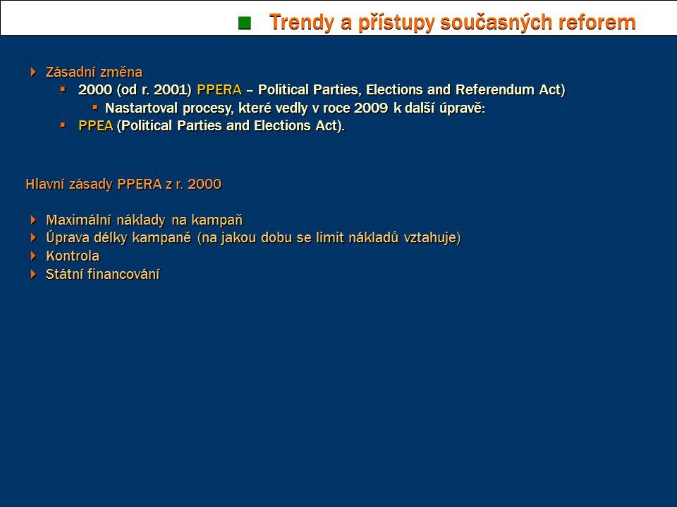  Zásadní změna  2000 (od r. 2001) PPERA – Political Parties, Elections and Referendum Act)  Nastartoval procesy, které vedly v roce 2009 k další úp