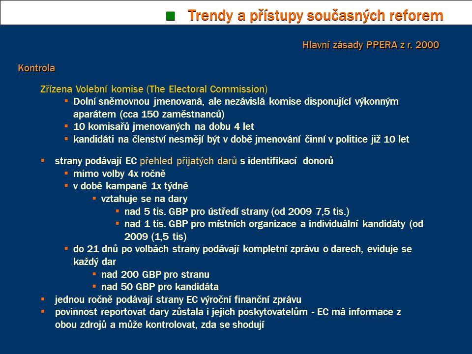 ■ Trendy a přístupy současných reforem Kontrola Zřízena Volební komise (The Electoral Commission)  Dolní sněmovnou jmenovaná, ale nezávislá komise di