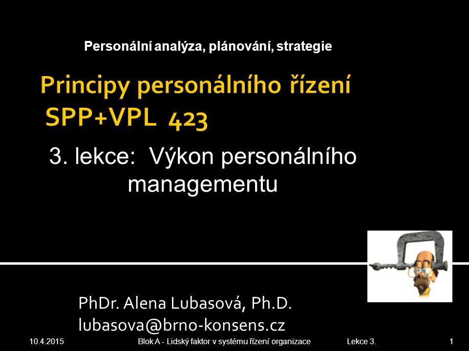 PhDr. Alena Lubasová, Ph.D. lubasova@brno-konsens.cz 10.4.2015 Blok A - Lidský faktor v systému řízení organizace Lekce 3. 1 Personální analýza, pláno