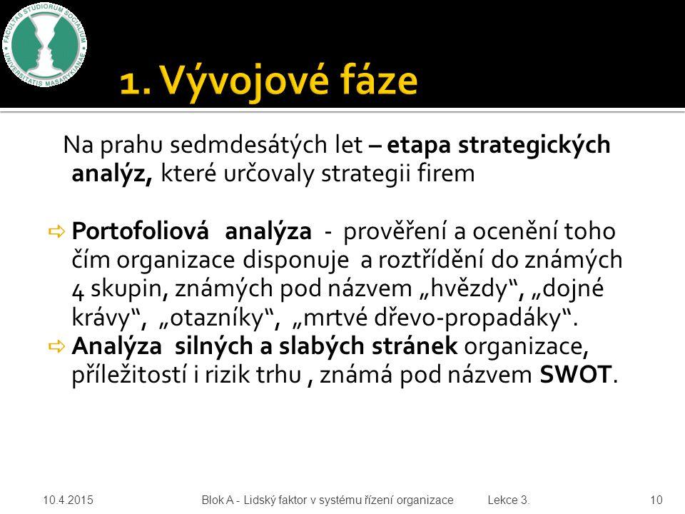 Na prahu sedmdesátých let – etapa strategických analýz, které určovaly strategii firem  Portofoliová analýza - prověření a ocenění toho čím organizac
