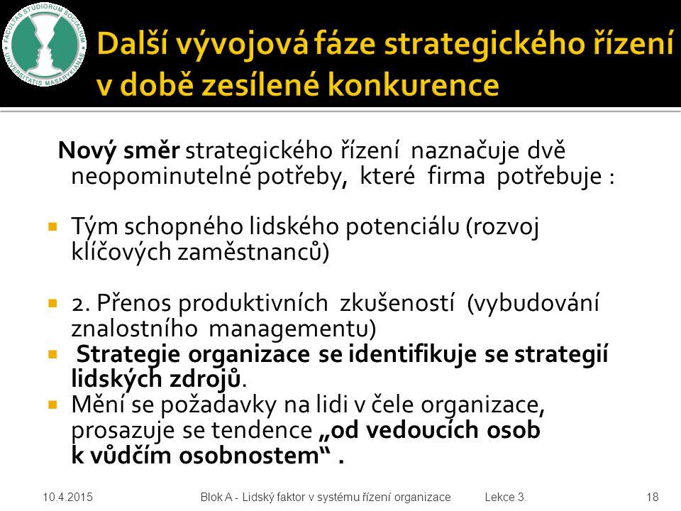 10.4.2015 Blok A - Lidský faktor v systému řízení organizace Lekce 3. 18 Nový směr strategického řízení naznačuje dvě neopominutelné potřeby, které fi
