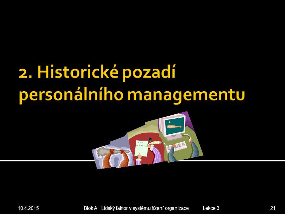 10.4.2015 Blok A - Lidský faktor v systému řízení organizace Lekce 3. 21