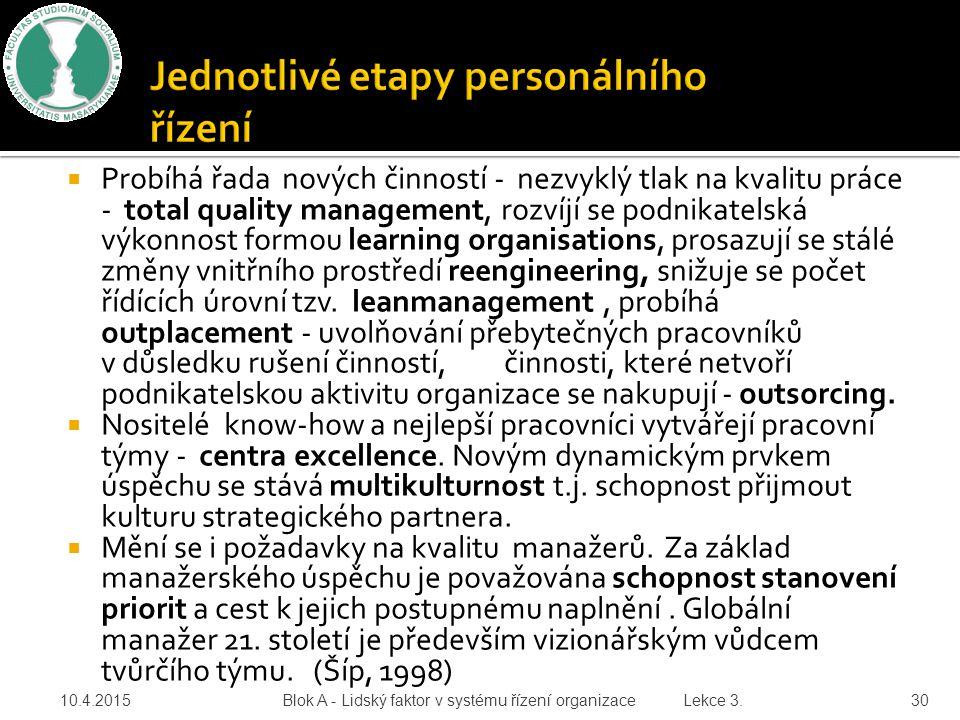  Probíhá řada nových činností - nezvyklý tlak na kvalitu práce - total quality management, rozvíjí se podnikatelská výkonnost formou learning organis