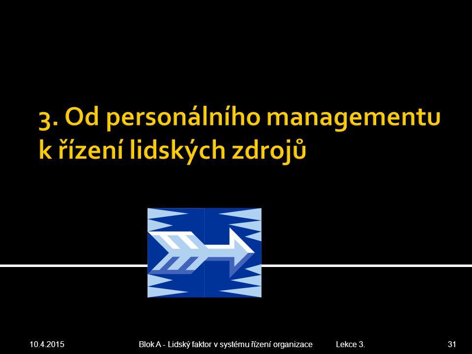 10.4.2015 Blok A - Lidský faktor v systému řízení organizace Lekce 3. 31