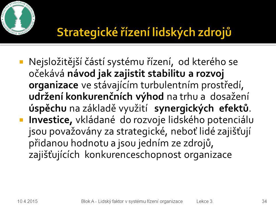  Nejsložitější částí systému řízení, od kterého se očekává návod jak zajistit stabilitu a rozvoj organizace ve stávajícím turbulentním prostředí, udr