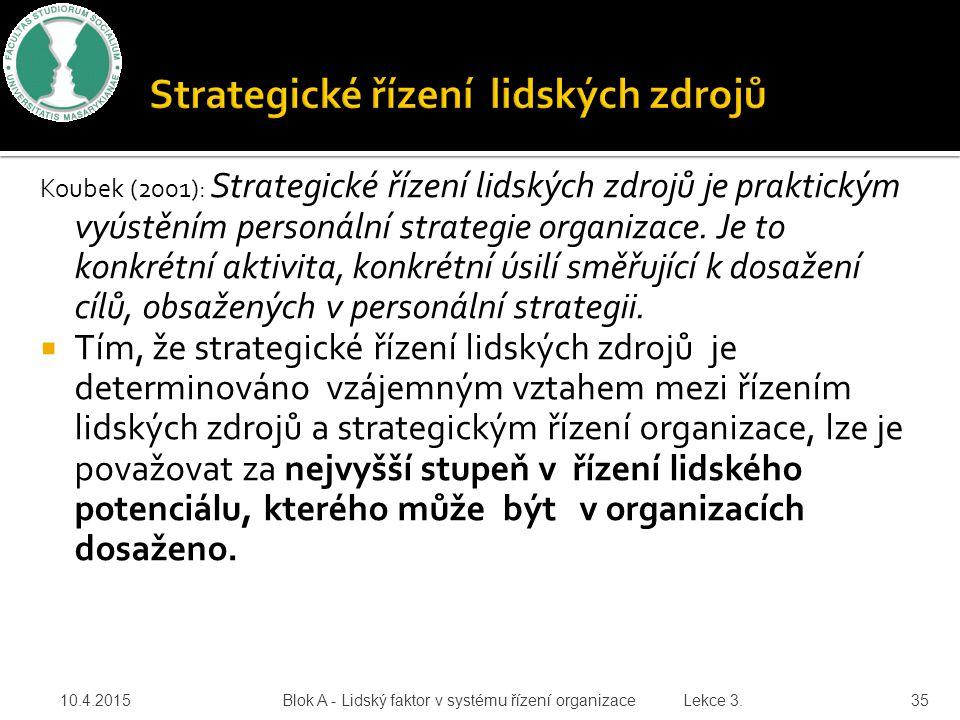 Koubek (2001): Strategické řízení lidských zdrojů je praktickým vyústěním personální strategie organizace. Je to konkrétní aktivita, konkrétní úsilí s