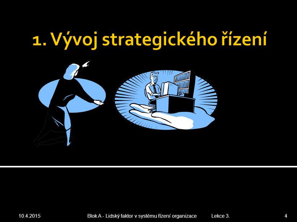 10.4.2015 Blok A - Lidský faktor v systému řízení organizace Lekce 3. 4