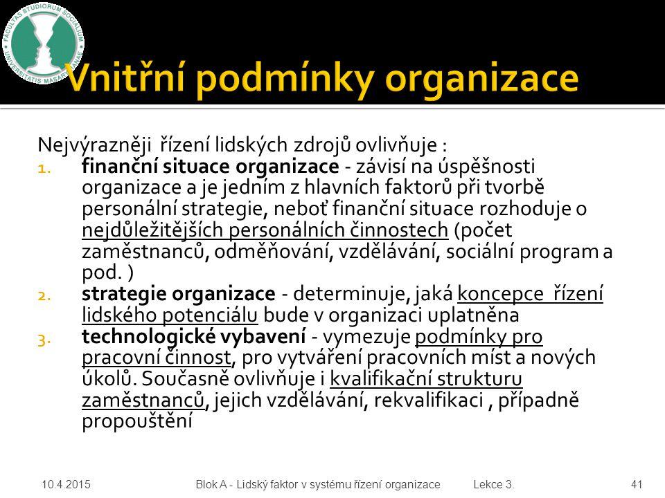 Nejvýrazněji řízení lidských zdrojů ovlivňuje : 1. finanční situace organizace - závisí na úspěšnosti organizace a je jedním z hlavních faktorů při tv
