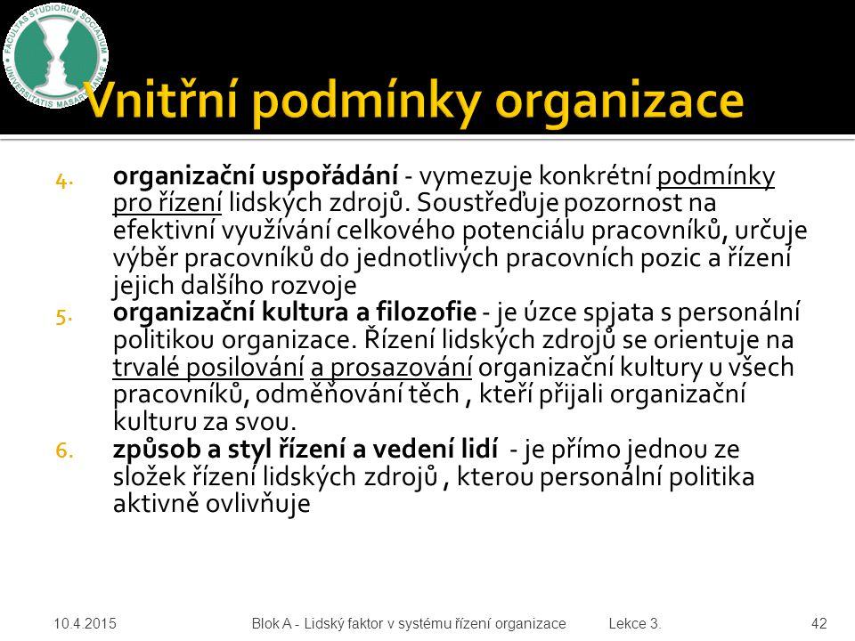 4. organizační uspořádání - vymezuje konkrétní podmínky pro řízení lidských zdrojů. Soustřeďuje pozornost na efektivní využívání celkového potenciálu