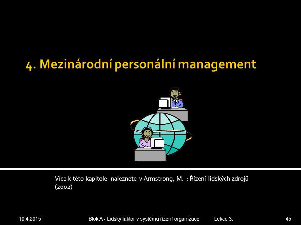 Více k této kapitole naleznete v Armstrong, M. : Řízení lidských zdrojů (2002) 10.4.2015 Blok A - Lidský faktor v systému řízení organizace Lekce 3. 4