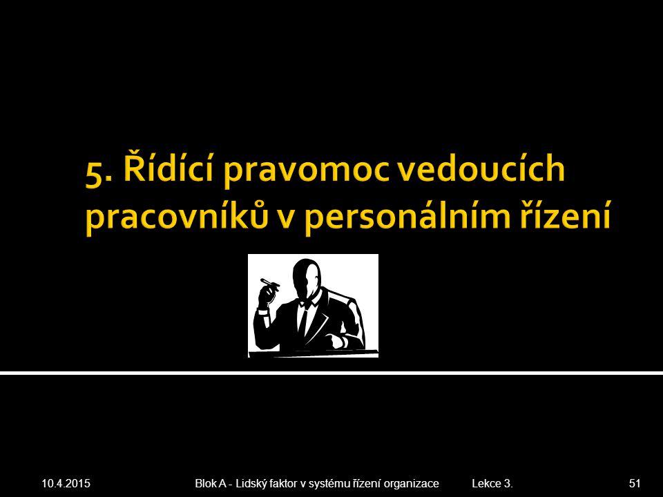 10.4.2015 Blok A - Lidský faktor v systému řízení organizace Lekce 3. 51