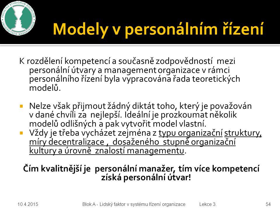 K rozdělení kompetencí a současně zodpovědností mezi personální útvary a management organizace v rámci personálního řízení byla vypracována řada teore