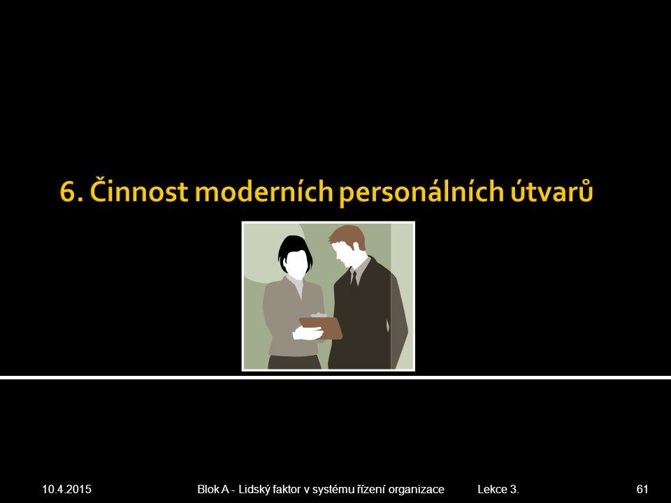 10.4.2015 Blok A - Lidský faktor v systému řízení organizace Lekce 3. 61
