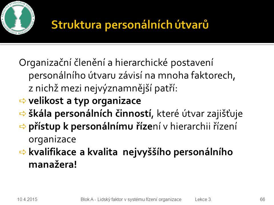 Organizační členění a hierarchické postavení personálního útvaru závisí na mnoha faktorech, z nichž mezi nejvýznamnější patří:  velikost a typ organi