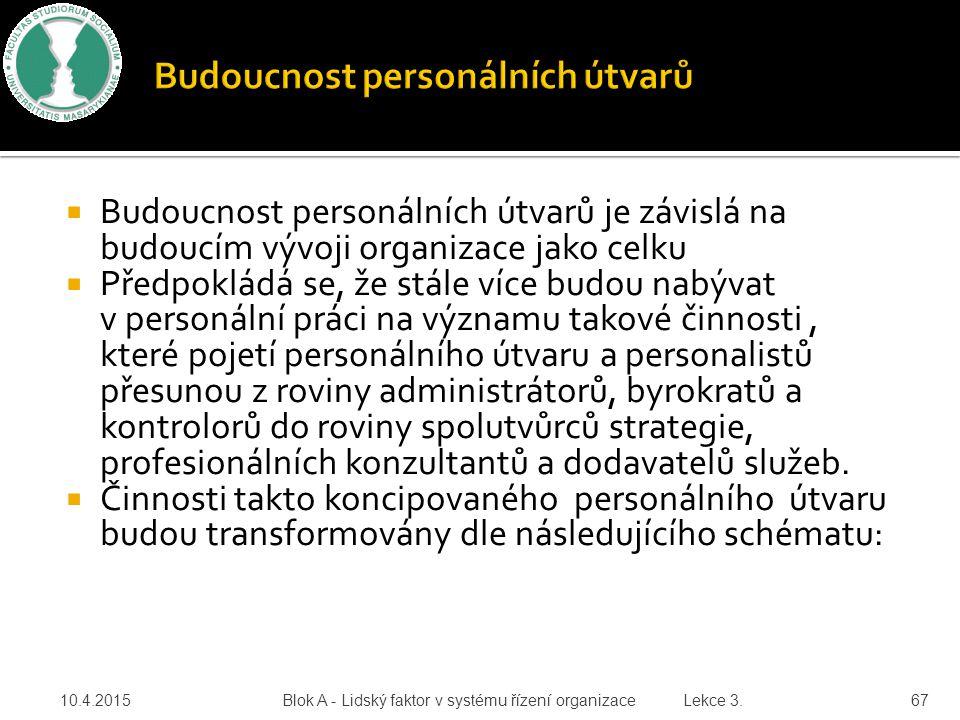  Budoucnost personálních útvarů je závislá na budoucím vývoji organizace jako celku  Předpokládá se, že stále více budou nabývat v personální práci