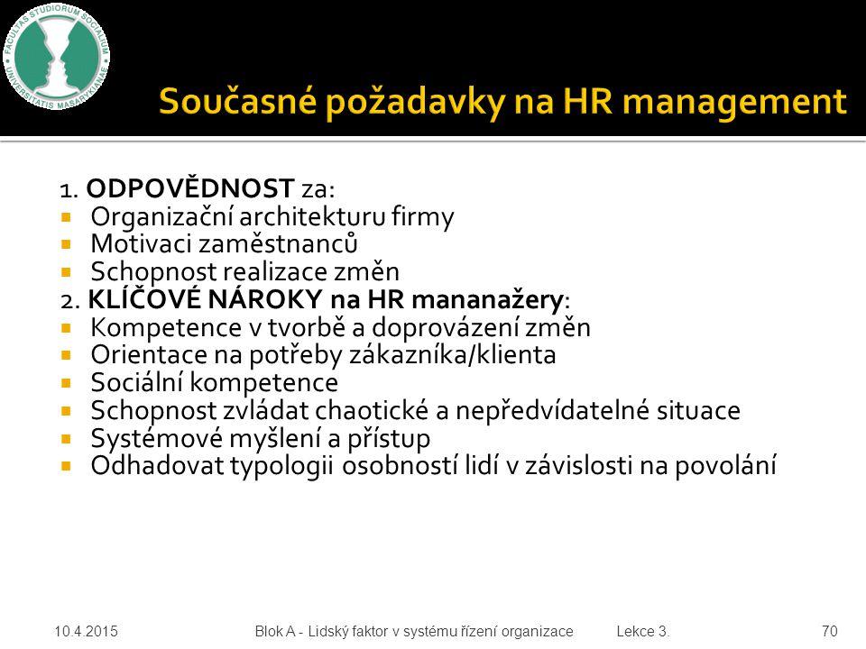 1. ODPOVĚDNOST za:  Organizační architekturu firmy  Motivaci zaměstnanců  Schopnost realizace změn 2. KLÍČOVÉ NÁROKY na HR mananažery:  Kompetence