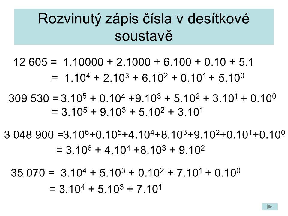 Rozvinutý zápis čísla v desítkové soustavě 12 605 = 309 530 = 3 048 900 = 35 070 = 1.10000 + 2.1000 + 6.100 + 0.10 + 5.1 = 1.10 4 + 2.10 3 + 6.10 2 + 0.10 1 + 5.10 0 3.10 5 + 0.10 4 +9.10 3 + 5.10 2 + 3.10 1 + 0.10 0 = 3.10 5 + 9.10 3 + 5.10 2 + 3.10 1 3.10 6 +0.10 5 +4.10 4 +8.10 3 +9.10 2 +0.10 1 +0.10 0 = 3.10 6 + 4.10 4 +8.10 3 + 9.10 2 3.10 4 + 5.10 3 + 0.10 2 + 7.10 1 + 0.10 0 = 3.10 4 + 5.10 3 + 7.10 1