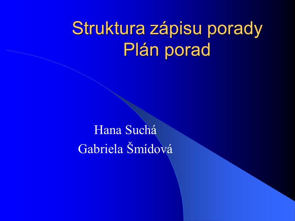 Struktura zápisu porady Plán porad Hana Suchá Gabriela Šmídová