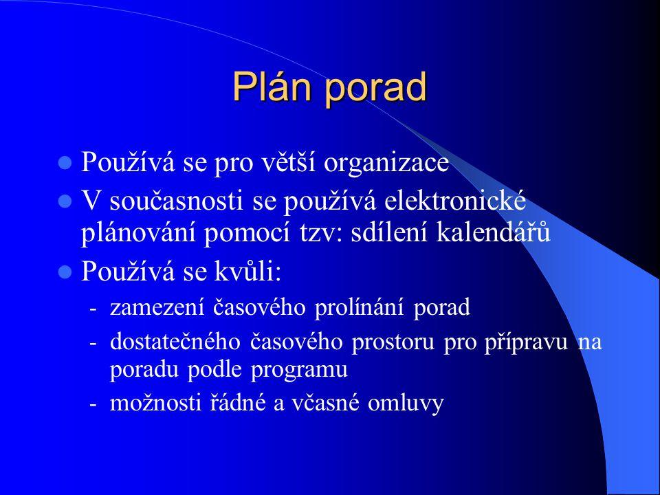 Plán porad Používá se pro větší organizace V současnosti se používá elektronické plánování pomocí tzv: sdílení kalendářů Používá se kvůli: - zamezení