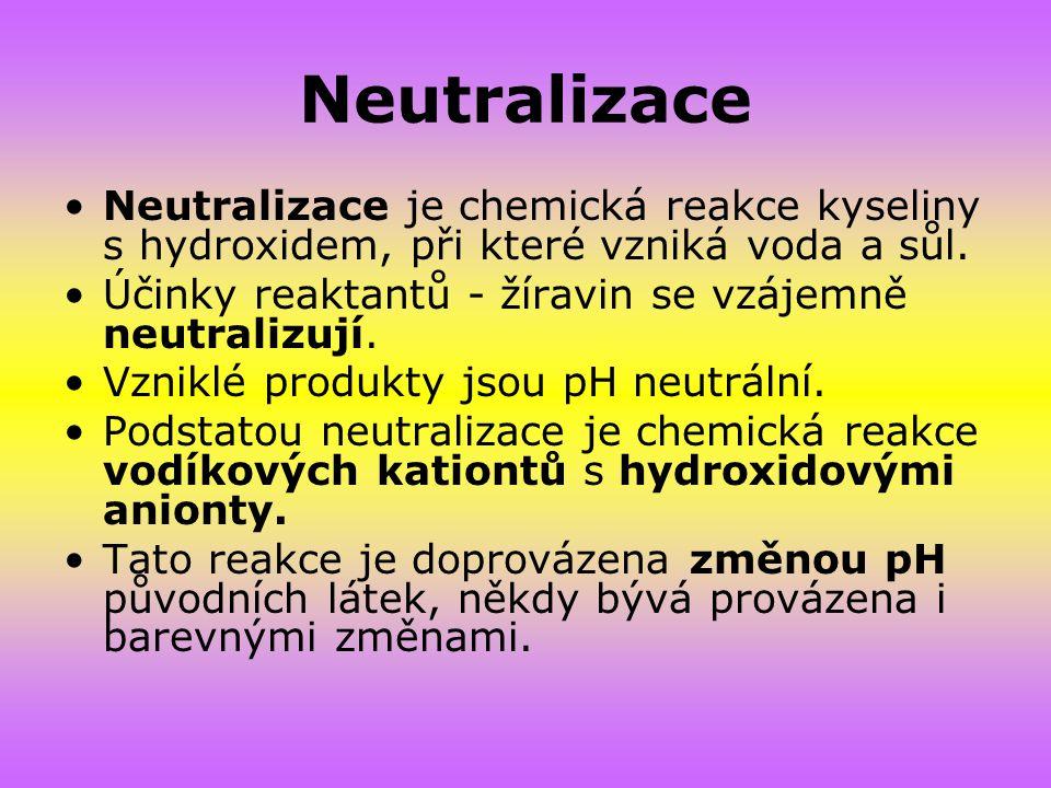 Neutralizace Neutralizace je chemická reakce kyseliny s hydroxidem, při které vzniká voda a sůl. Účinky reaktantů - žíravin se vzájemně neutralizují.
