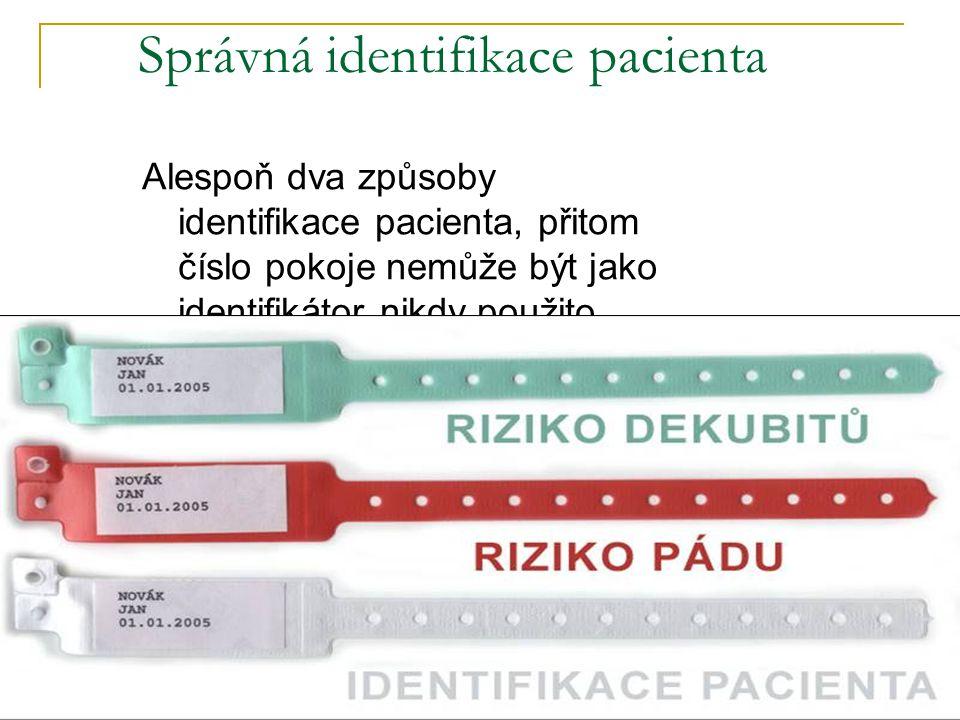 Správná identifikace pacienta Alespoň dva způsoby identifikace pacienta, přitom číslo pokoje nemůže být jako identifikátor nikdy použito.